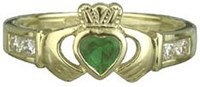 S2518  - Ladies Stone Claddagh Ring,his ring shows the Claddagh, it is 10ct yellow gold. Made in Ireland.
