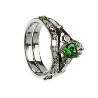 NEW Emerald & CZ Claddagh with Matching Band
