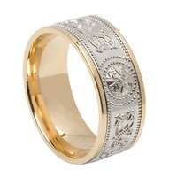 ID105 Warrior Shield- Mens,This stunning ring incorporates a design that is thousands of years old. 14ct Yellow gold weave, white gold trim.