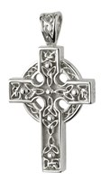 S4795 - Heavy Celtic Cross ,Sterling Silver. This heavy celtic cross shows the trinity knots.