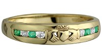 Ladies stone claddagh ring,shows the Claddagh, it is 10ct yellow gold. Made in Ireland.