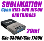 Cyan SUBLIMATION INK - VISI-SUB RICOH CARTRIDGES GXe 3300N/GXe 7700N 29ml