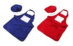 Kids Sublimation Aprons with chef hat BLUE OR RED