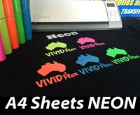 A4 Sheets NEON Vivid Flex Heat Transfer Vinyl