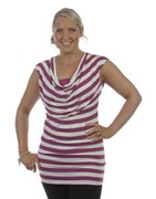 Ninth Moon - WIDE STRIPE COWL NECK FEEDING TOP