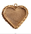 Ornate Large Pendant Heart Single Loop Antique Gold