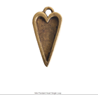 Mini Pendant Heart Single Loop Antique Gold Packet of 10