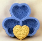 Small Roses on Heart (x3) Silicone Soap Mould RO350