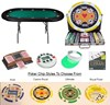 Deluxe Oval POKER TABLE & Chips Combo Set Pack Texas Hold'em etc