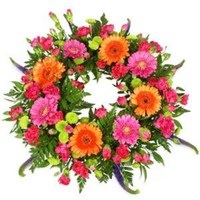 Wreath With Orange & Pink Tones, From $100
