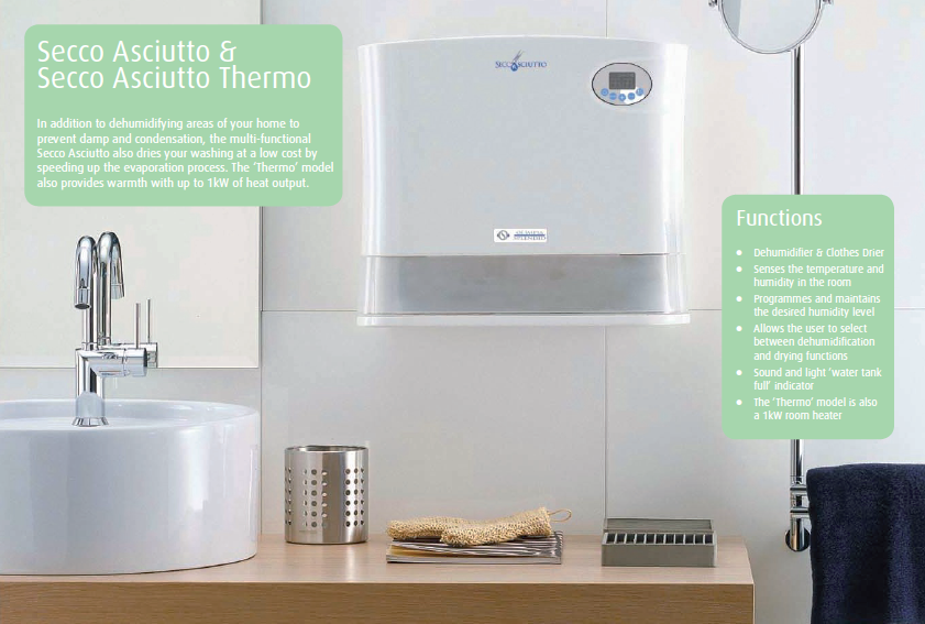 Olimpia Splendid Secco Asciutto Thermo 12 Litre IPX1 Rated Wall Mountable  Dehumidifier