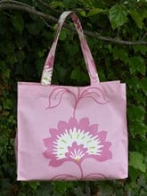 OILCLOTH RECTANGULAR SHOPPING TOTE - PINK FLORAL DESIGN