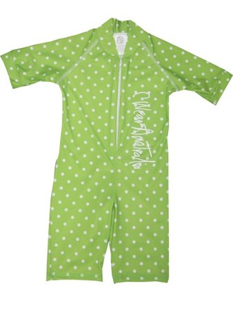 LIME with WHITE SPOTS SWIMSUIT - SIZE 4