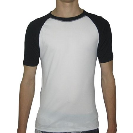 CREW NECK SWIM SHIRT - WHITE with BLACK SLEEVES