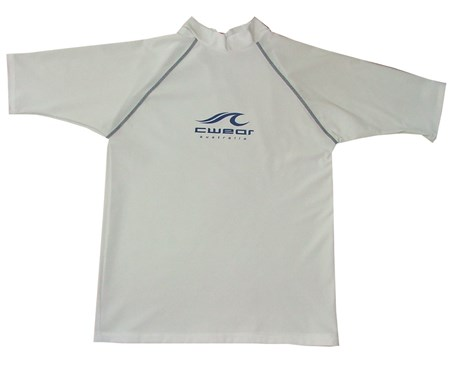 SALE - WHITE SWIM SHIRT with BLUE STITCHING - XS - M