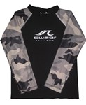 BLACK with CAMOUFLAGE LONG SLEEVE SWIM SHIRT - YOUTH