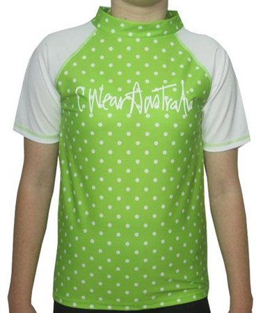 LIME SPOTTY SWIM SHIRT - JUNIOR