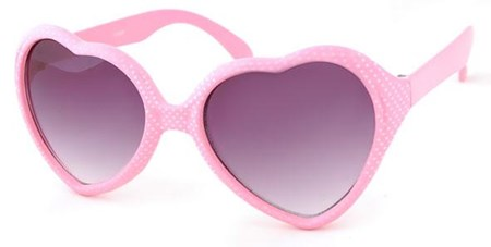 SUNGLASSES GIRLS - HEART SHAPE PINK with WHITE SPOTS