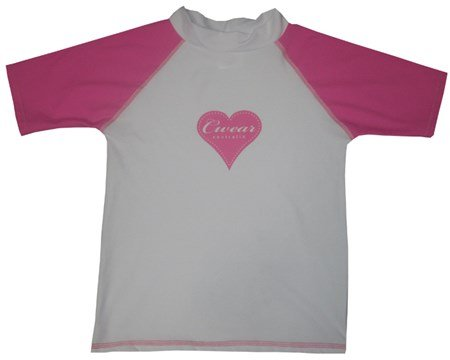 SALE - WHITE SWIM SHIRT with PINK SLEEVES & HEART - BABY/TODDLER