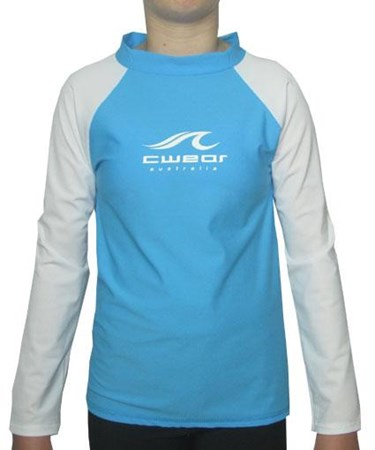 AQUA SWIM SHIRT with WHITE LONG SLEEVES - SIZE 0