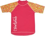 POP PINK SWIM SHIRT with FLORAL SLEEVES  - BABY / TODDLER