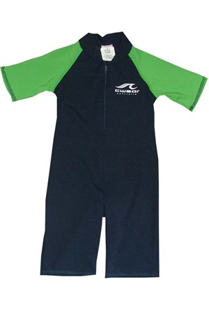 NAVY SWIMSUIT with GREEN SLEEVES - JUNIOR