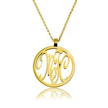 Monogram pendant with chain and 3 letters 9ct gold