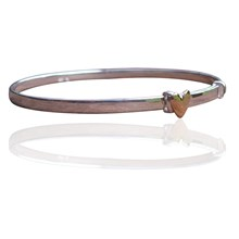 Babys Bangle sterling silver with 9ct gold heart