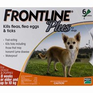 Frontline Plus Small Dogs Under 22lbs (10kg) - 6 Pipettes