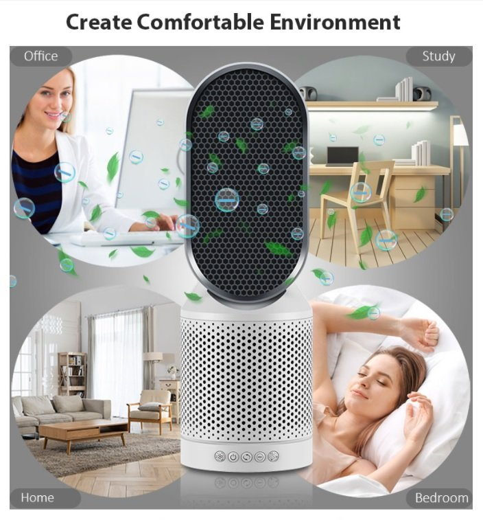Rotating Negative Ion Dual Fan Activated Carbon Hepa Filter Air Purifier ATLS8