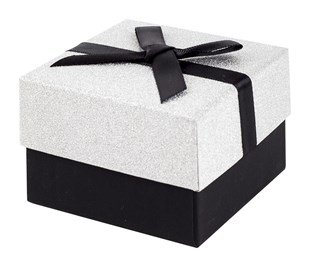 Black and Silver Glitter Gift Box with Black Ribbon Bow