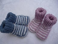 TWIN striped bootees Pastels