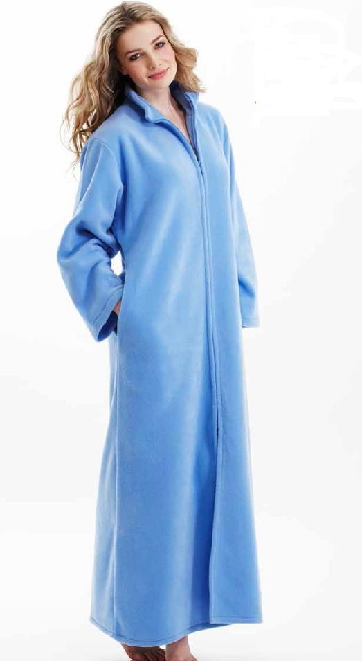 Influence Polar Fleece Zip Dressing Gown | Ladies zip fleece winter ...