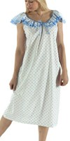 Vikki James Sleepwear Contessa Cotton Nightie with Flounce Collar V21610