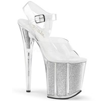 PLEASER FLAMINGO 808 Silver Glitter Filled 8 inch Heels
