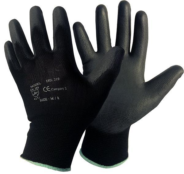 Black 219 Pu Coated Dexterity Glove Pair Conforms To