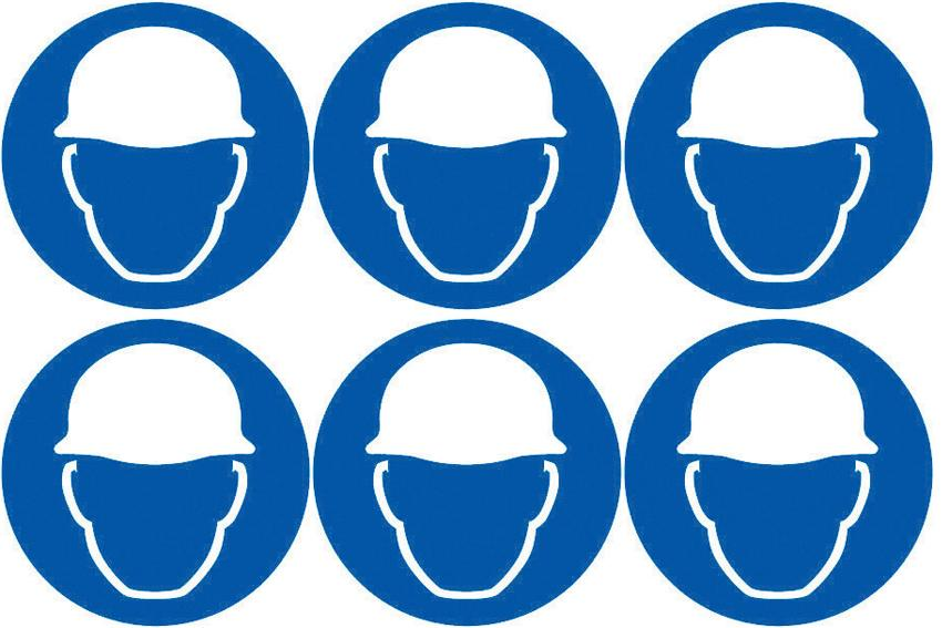 Safety Lables Safety Helmets 2 Symbol 24 Pack 6 To Sheet 75mm