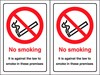 No Smoking - Against the Law to Smoke in Premises - Double Sided for use on Glass - 148 x 210Hmm - Rigid Plastic - [AS-PR510]
