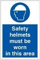 Safety Helmets Area Sign LARGE - 400 x 600Hmm - Rigid Plastic - [AS-MA111-RP]
