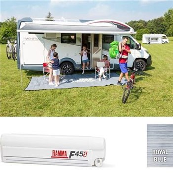 Fiamma F45 S awning. 300cm - White case with a Royal Blue canopy