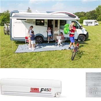 Fiamma F45 S awning. 350cm - White case with a Royal Grey canopy