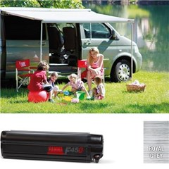 Fiamma F45S awning. VW T5 or VW T6. 260cm (swb) Black case with a Royal Grey canopy