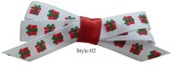 Christmas Pet Hair Bows (Style 02) White with Presents (4 Pack)