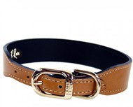 Hartman & Rose Italian Leather Dog Collar - Buckskin & Gold