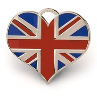 Heart Union Jack ID Tag (Silver)