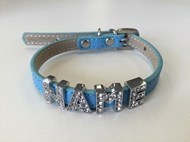 Plain Leather with Crystal Buckle Dog Collar (Blue)