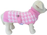 Houndstooth Dog Sweater (Pink/White)