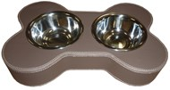 Faux Leather Bone Shaped Pet Bowl -Brown