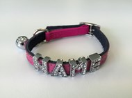 Plain Leather Safety Cat Collar - Pink