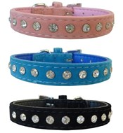 LA Velvet & Crystal Dog Collar
